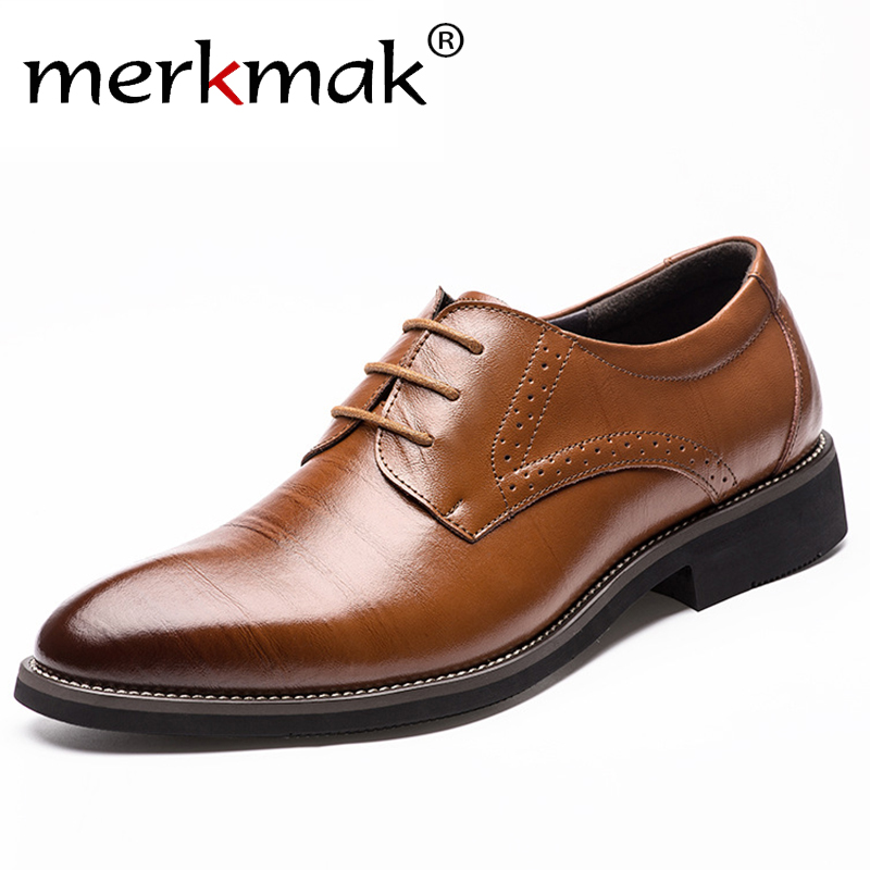 2016 New High Quality Genuine Leather Men Brogues Shoes Lace Up Bullock Business Dress Men Oxfords