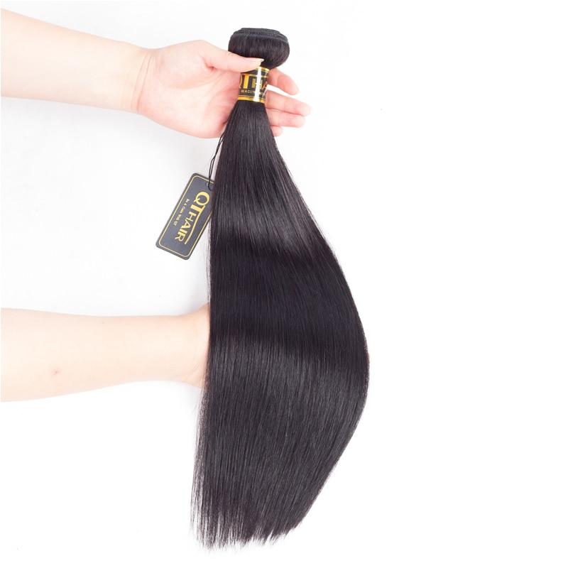 Qthair Brazilian Straight Human Hair Weave Bundles Non Remy Hair