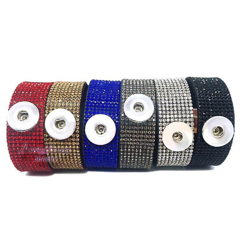 Crystal Magnent 079 Rhinestones Korean velvet 18mm Snap Button Jewelry Charm Bracelet For Women Men Teenagers 20cm