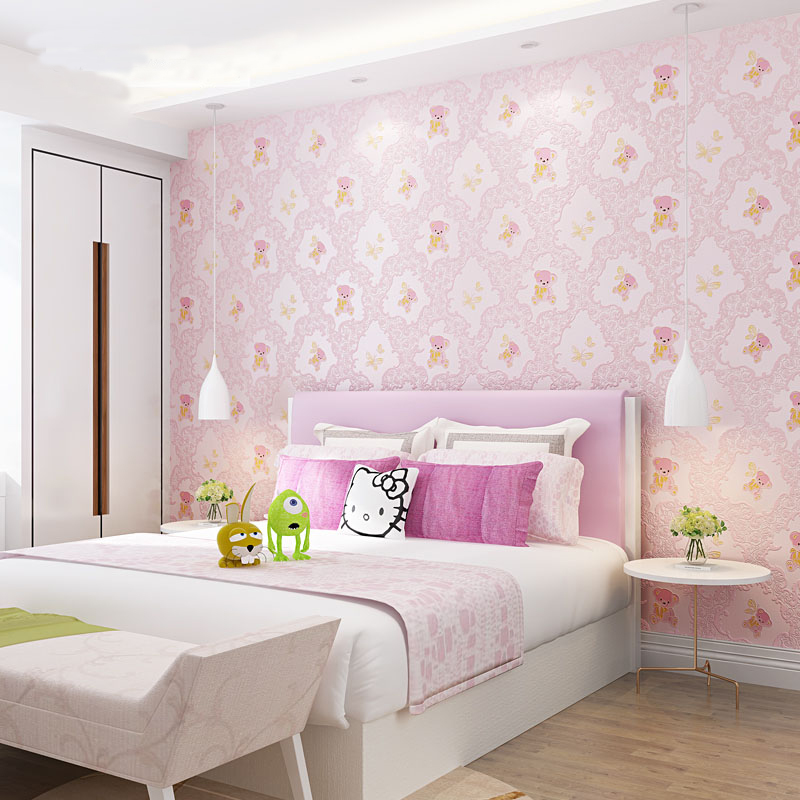US $18.99 37% OFF|Lovely 3d Bear Wallpaper Baby Girls Boys Rooms Pink Blue  Yellow Butterfly Wall Paper Kids Bedroom Decor Sticky Wallpapers EZ030-in  ...