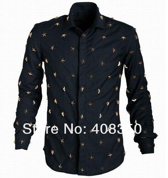 2015 Men\'s Euro American Fashion Metal Stars Rivets Long Sleeve Dress Shirt Casual Black Cool Party Masculinas Camiseta Quality  (6).jpg