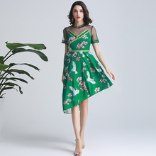 New arrival france style mesh patchwork Irregular dress 2019 summer runways embroidered A286