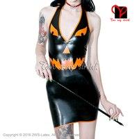 Halloween Latex Dress Rubber Latex dres Deep V Sexy mini top Playsuit Backless Bodyco plus size XXXL QZ 103