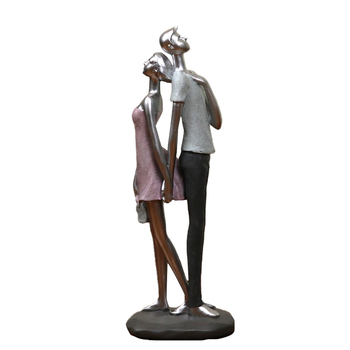 Romantic Sculpture Lovers Back to Back Abstract Resin Date Couple Figurine Item Souvenir Ornament Gift and Craft Accessories