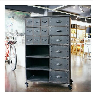 American Country To Do The Old Retro Style Loft Industrial Industrial Metal  Storage Cabinet Drawers Side