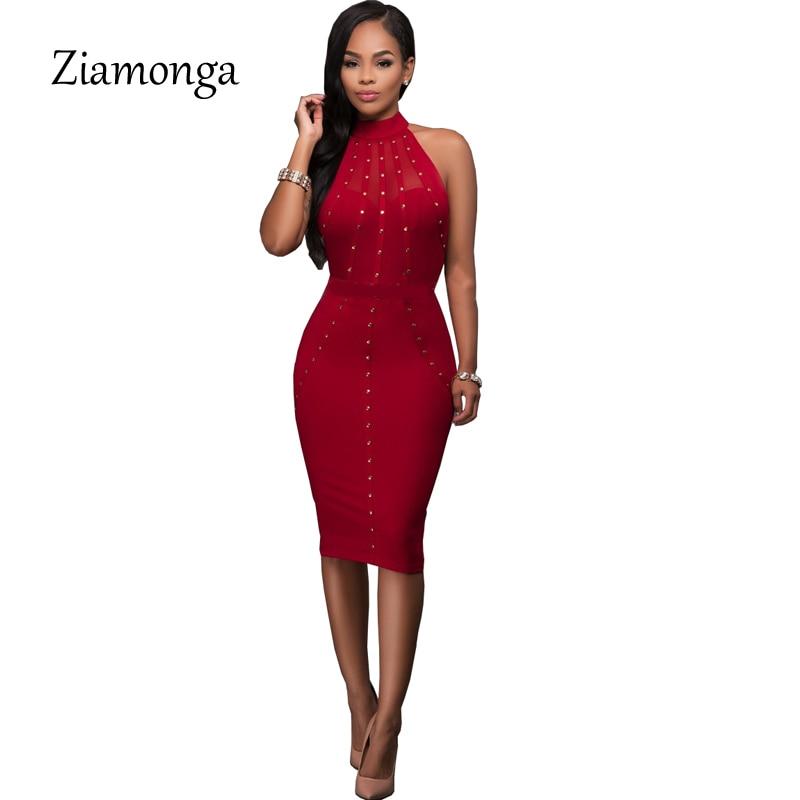 5564f913a62 Ziamonga Black Red Sleeveless Studded Rivet Mesh Sexy Women Dress 2017 New  Novelty Bodycon Celebrity Bandage