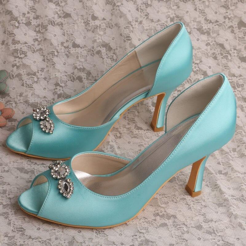Wedopus Elegant White Ivory Mint Green Diamond High Heel
