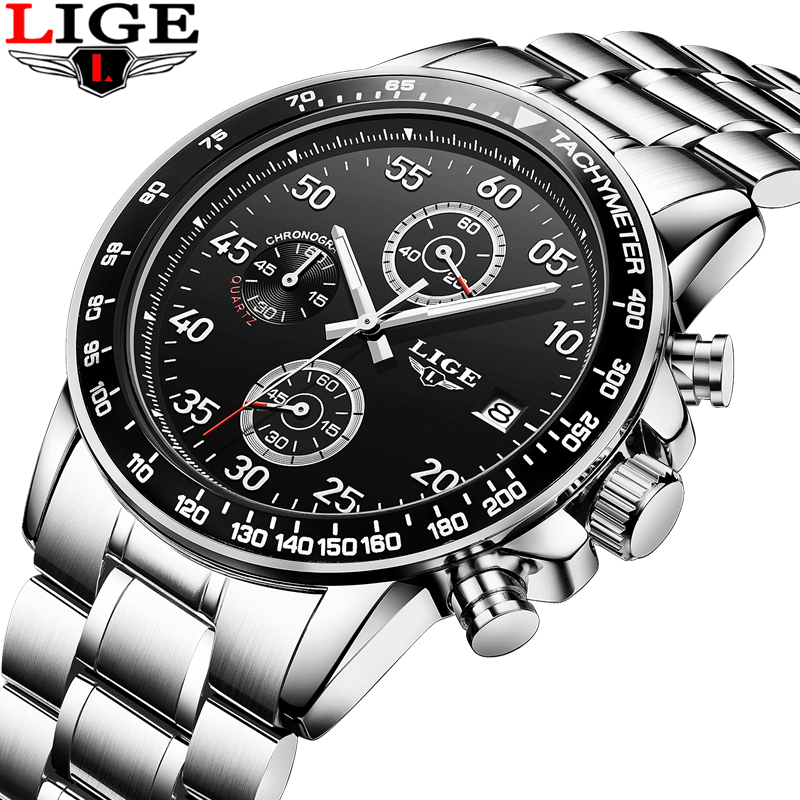 relogio masculino LIGE Mens Watches Top Brand Luxury Sport Quartz Watch Men Business Full stainless steel