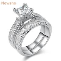 3 Ct Princess Cut AAA CZ Genuine 925 Sterling Silver Wedding Rings Bridal Sets For Women