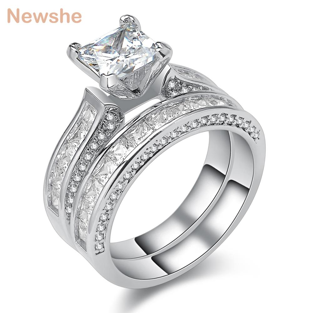 Newshe Genuine 925 Sterling Silver Wedding Rings For Women 1.25 Ct Princess Cut AAA CZ Fashion Jewelry Engagement Ring Set newshe 925 sterling silver rose gold color dangle drop earrings 6 ct red rhinestone heart shape aaa cz fashion jewelry for women