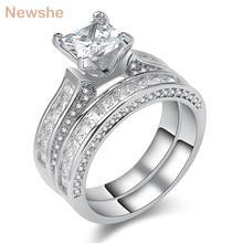 Newshe genuíno 925 prata esterlina anéis de casamento para as mulheres 1.25 ct princesa corte aaa cz jóias anel de noivado conjunto