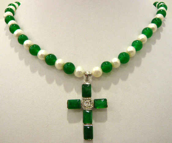 white pearl & green natural JADE cross pendant necklace