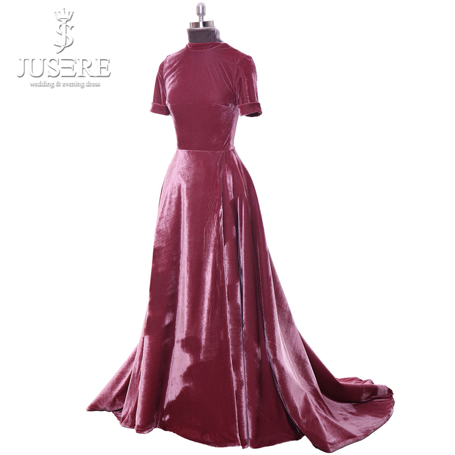 Velvet High Neckline Short Sleeves A Line Elegant Red Flowing Down Court Train Lady Occasion Long Burgundy Evening Dress 2018