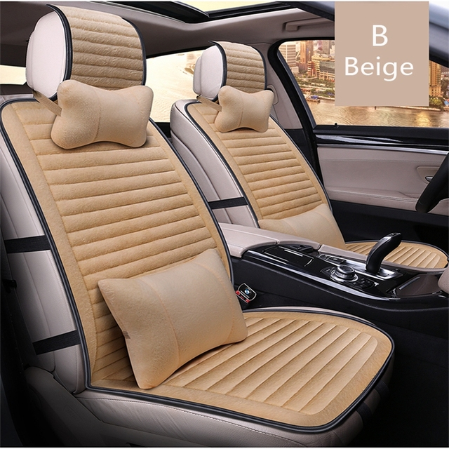 Front Rear Universal Luxury Car Seat Covers Set Faux Fur Interior Accessories Cushion Styling