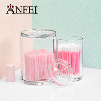 ANFEI Clear Acrylic Cylinder Makeup Holder Women Cosmetic Tools Cotton Swab Storage Box With Cover Eyebrow Pencil Organizer