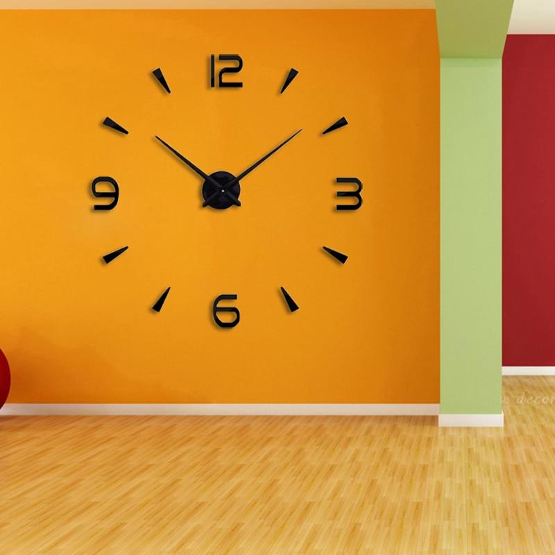 3D DIY Large Quartz Acrylic Mirror Wall Clock Fashion Art Home Decor Wall Stickers Clock Suit Living Room Home Watch