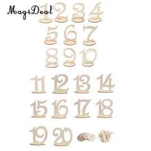 Magideal 20 ピース/ロット mdf 木製テーブル番号 1-20 番号図カードベース結婚式誕生日パーティーフランス