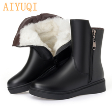 AIYUQI black Booties  big size 35-43 winter 2019 new genuine leather female snow boots  thick warm wool boots shoes women цена и фото