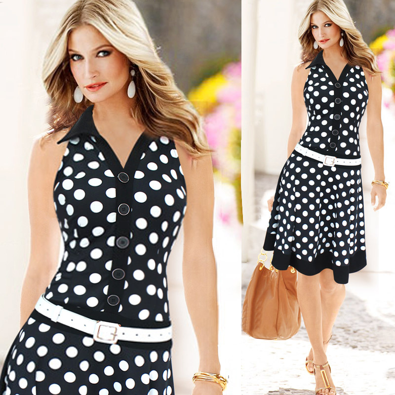 2017 New Summer/Autumn Free Shipping Women Europe Lapel Sleeveless Dress Wave Point Printing Work Wear Clothes White Black Color