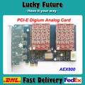8 Puerto FXO AEX800 PCI-E, Tarjeta de FXO tarjeta del Asterisco de digium tarjeta de Teléfono Analógico FXS FXO digium wildcard para VoIP PBX sistema