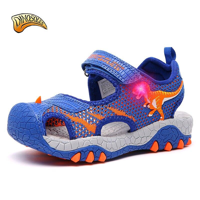 DINOSOLES Kids Boys Sandals LED Shining 2019 Summer Toddler Shoes Light Up 3D Dinosaur Children's Mesh Breathable Beach Shoes