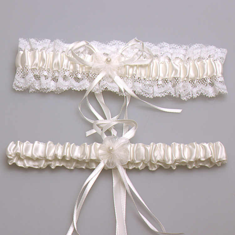 Ivory Sexy Lace Bowknot Bridal Garter Set Bride Wedding