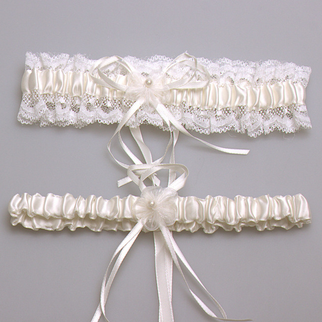 Ivory Y Lace Bowknot Bridal Garter Set Bride Wedding Accessories Leg Garters Belt Women Liga Blue