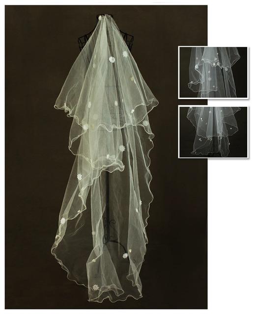 3M Long Stunning Flowers Veil Bridal 2016 Beautiful Flowers Wedding Veil