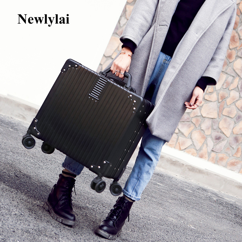18 inches pull rod box small suitcase business men and women boot universal wheel board box aluminum frame hard box JJ170090