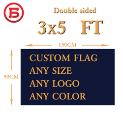 90x150cm Double Sided Custom Flag Full Color 3'*5' Customized Personalized Logos For Banners 100D Polyester brass metal holes
