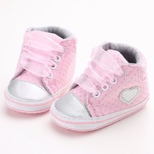 Купить с кэшбэком Newborn Baby Girls Polka Dots Heart Autumn Lace-Up First Walkers Sneakers Shoes Toddler Classic Casual Shoes
