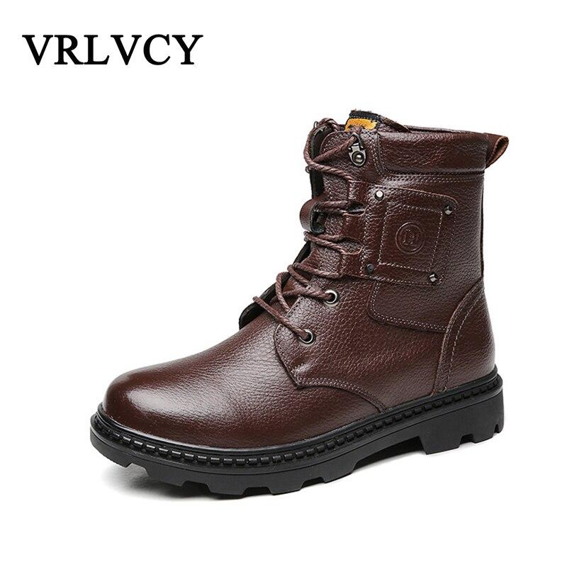 D'hiver Cuir Outillage Et De Black Supérieure Couche Cachemire Haute Militaire brown Angleterre Tendance Hommes En Chaussures Automne Bottes Y5Hxw