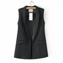 Women Sleeveless V Neck Long Vest Formal Blazers Suit One Button Jacket Coat Higt Quality