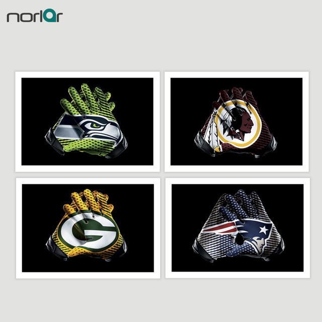 Football Gloves Canvas Painting Green Bay Packers Eagles Broncos ...