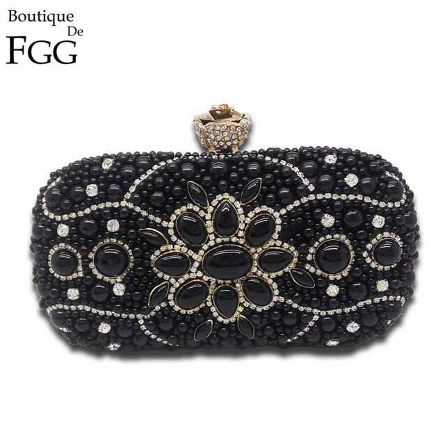 Socialite Bridal Black Beaded Clutch Crystal Gold Evening Bags For Wedding Party Women Metal Clutches Shoulder Handbags Purses