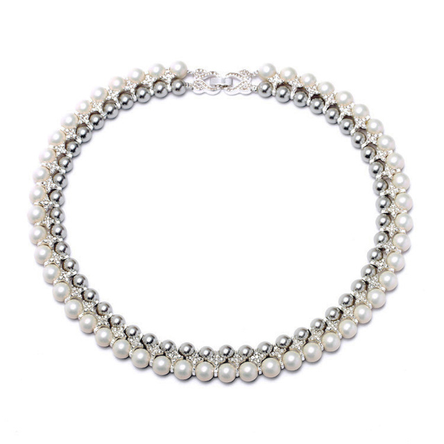 Women Necklaces Rhinestone Faux Pearl White Gray Beads Silver Tone Metal Wedding Anniversary Collar Hoop Chunky Torques Necklace