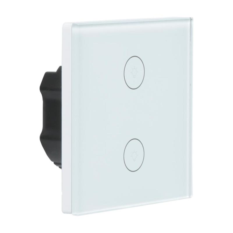 LEMAIC T1 WiFi Switch EU 2 Gang Panel APP Touch/ RF/APP WiFi/Remote Light Switch Support Ios Android Smart Home Automation sonoff t1 us smart touch wall switch 1 2 3 gang wifi 315 rf app remote smart home works with amazon free ios and app ewelink