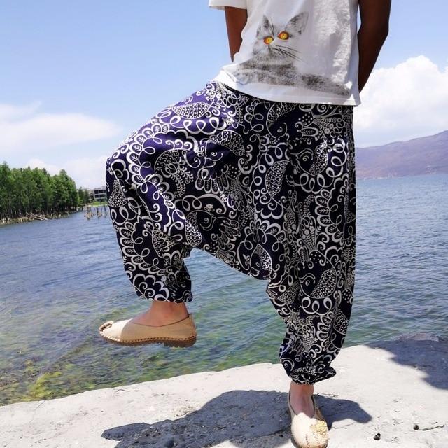 20 Colors Men Causal Flower Print Hippy Baggy Boho Elastic Cross-Pants Loose Trousers Aladdin Wide Leg Cotton Linen Harem Pants 2