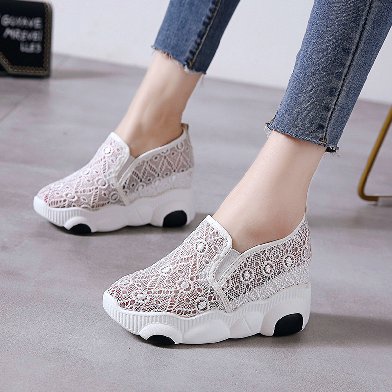 Vulcanized Casual Shoes Female Breathable Fashion Women Mesh Spring Sneakers Ladies Lace Up Platform