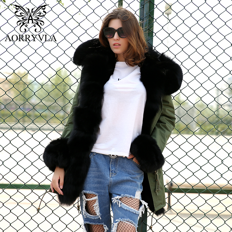AORRYVLA Fox Fur Collar Jacket Women Winter 2017 Luxury Natural Fox Fur Collar Hooded Long Coat Cuff Fur Faux Fur Liner Hot Sale 2017 winter new clothes to overcome the coat of women in the long reed rabbit hair fur fur coat fox raccoon fur collar