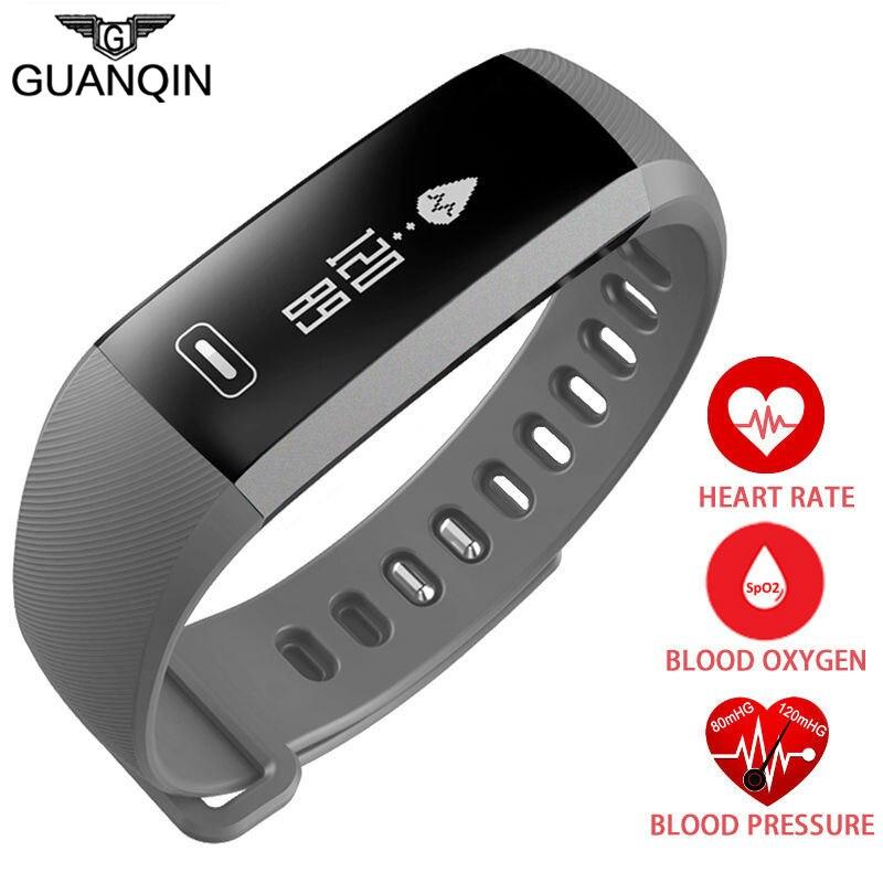 GUANQIN Men&Women Smart Bracelet Band Heartrate Blood Pressure Oxygen Oximeter Sport Bracelet Intelligent For IOS Android R5PRO