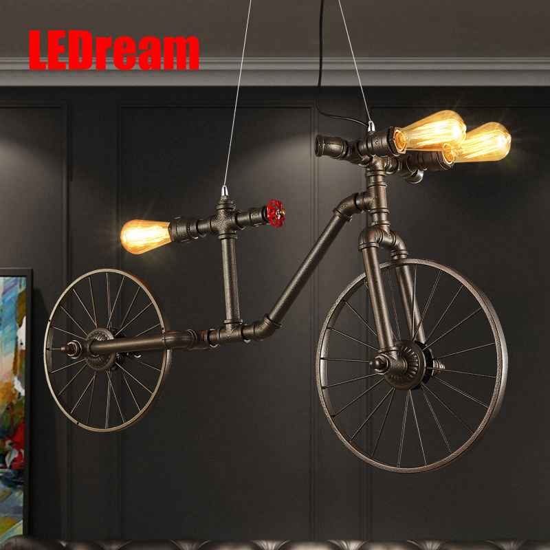 Retro loft wrought iron cafe bedroom restaurant bar industrial creative personality cycling wind pipe pendant lamp
