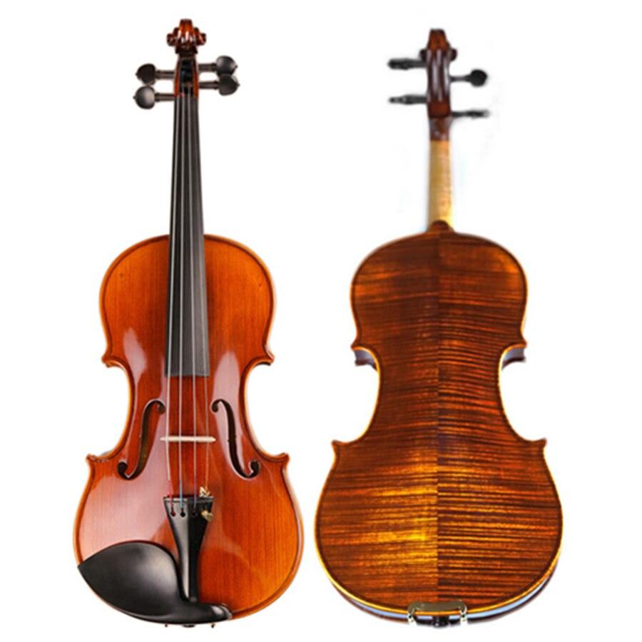 Высокая конец Профессиональный дух Лаки скрипка естественно сушат полосы клен ручной работы под старину Violino TONGLING бренд