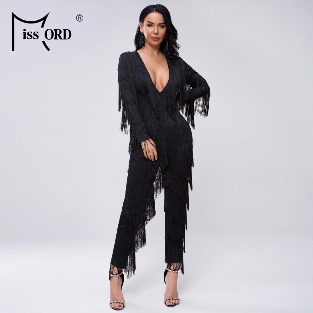 Missord 2020 New Summer Sexy Deep V Long Sleeve Tassels Solid Color Elegant Jumpsuit FT20000-1