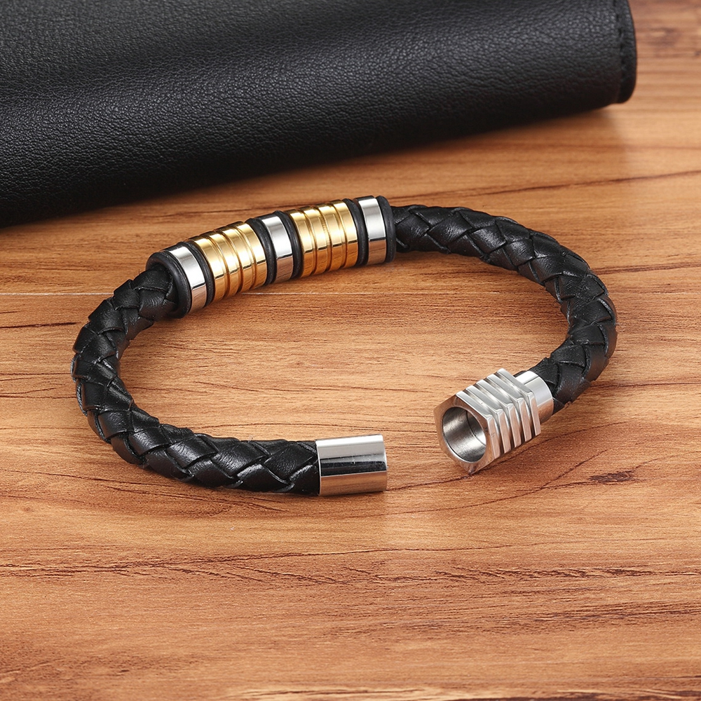 XQNI Fashion Jewelry Accessories Genuine Leather Bracelet For Men Female Gold/Steel Round Magnetic Clasp Snake Chain Discount