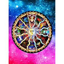 5D DIY Diamond Paintings Full Round Colorful Mandala Mosaic Art Embroidery Landscape Pattern Handmade Stickers Decoration Home