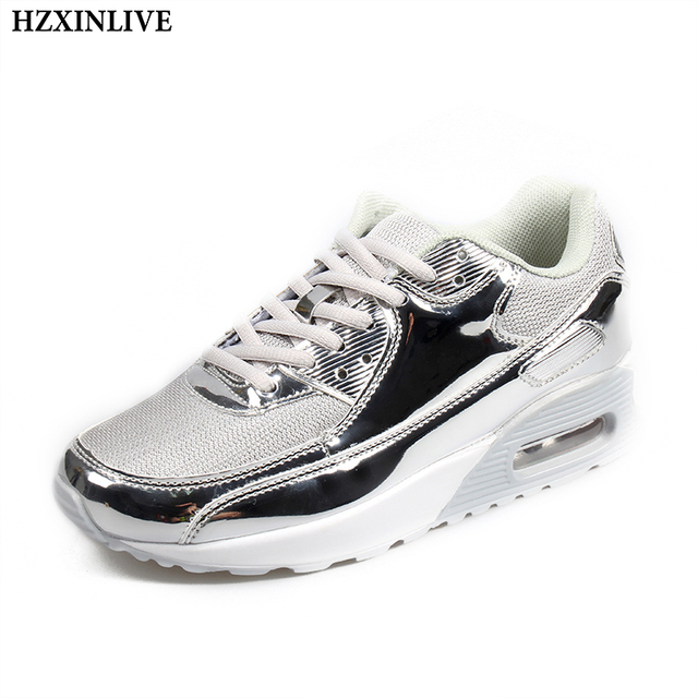 6645fda9389e28 HZXINLIVE 2018 Women Vulcanized Shoes Sneakers Ladies Lace-up Casual Ankle  Shoes Walking Bling Mirror Leather Air Cushion Shoes