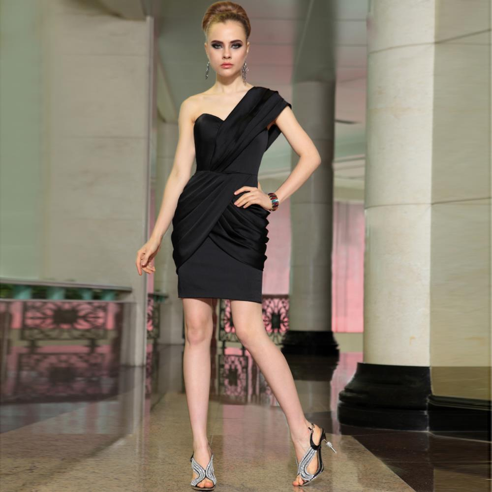 Summer Dress Free Shipping Robe De Soiree 2016 New One Shoulder Knee-length Pleat Black Short Cocktail Dresses Party Dress