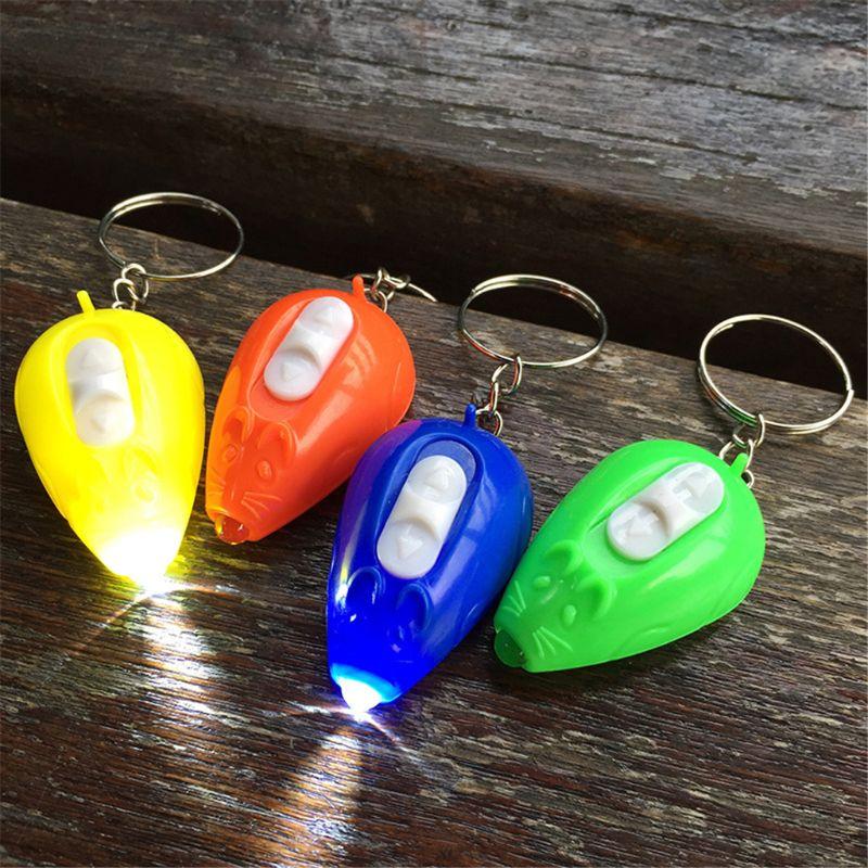 HBB 1PC Mini Flashing Toys Cartoon Mouse Shaped Animal Keychain Gift Gadgets Flashlight Kids Luminous Toys Random Color