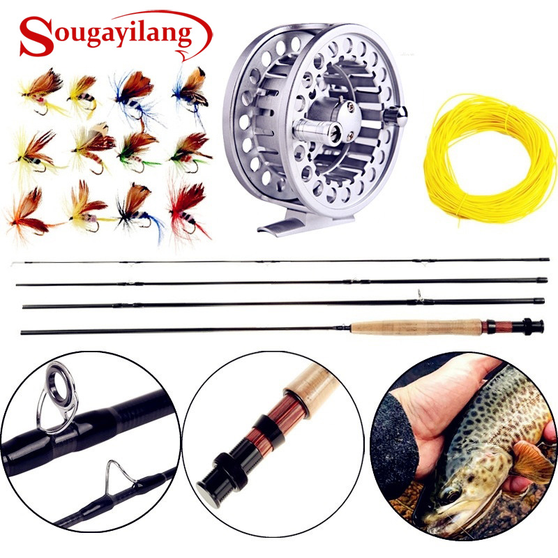 Sougayialng 8.86FT # 5/6 Fly Hengel Set 2.7 M Fly Rod en Fly Reel - Visvangst